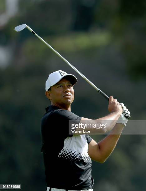 Tiger Woods competes during the ProAm of the Genesis Open at the Riviera Country Club on February 14 2018 in Pacific Palisades California