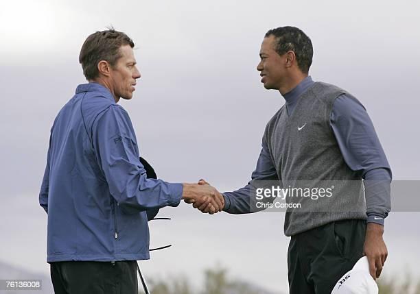 Tiger Woods congratulates Nick O'Hern after defeating Tiger Woods 1up after 20 holes during the third round matches of the WGCAccenture Match Play...