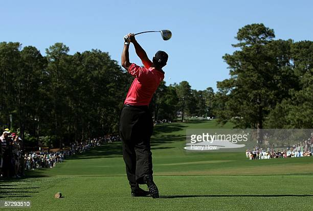 Tiger Woods drives off the eighth tee during the final round of The Masters at the Augusta National Golf Club on April 9, 2006 in Augusta, Georgia.