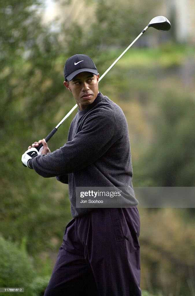 Tiger Woods during 2001 Williams World Challenge - Day Two at Sherwood Country Club in Thousand Oaks, California.