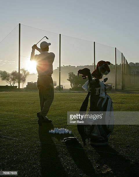 Tiger Woods during a practice round for the 2006 Accenture Match Play Championship at the La Costa Resort Spa in Carlsbad California on February 21...