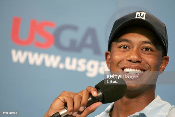 Tiger Woods during a press conference after a practice round for the 2005 US Open Golf Championship at Pinehurst Resort course 2 in Pinehurst North...