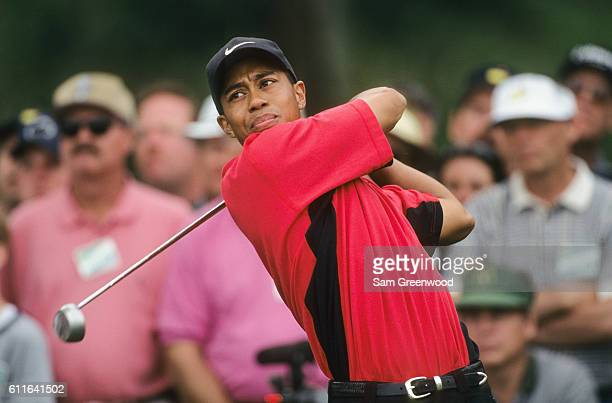 Tiger Woods during the final round of the 1997 Masters Tournament at the Augusta National Golf Club on April 13 1997 in Augusta Georgia