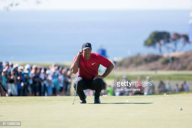 Tiger Woods during the final round of the Farmers Insurance Open at Torrey Pines Golf Club on January 28 2018 in San Diego California