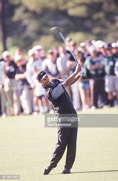 Tiger Woods during the first round of the 1997 Masters Tournament at the Augusta National Golf Club on April 10 1997 in Augusta Georgia