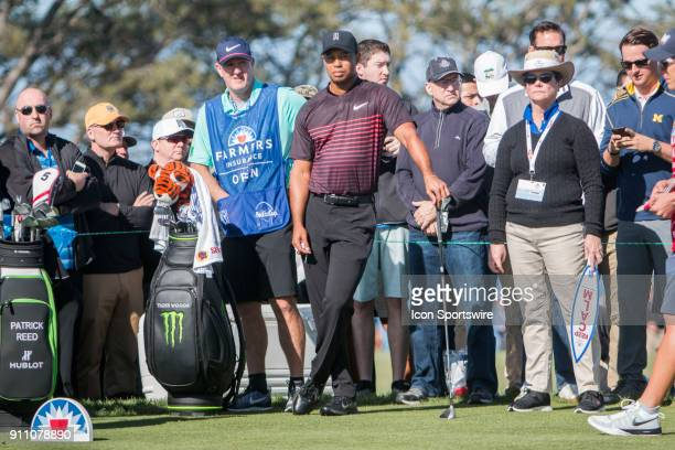 during the Farmers Insurance Open at Torrey Pines Golf Club on January 25 2018 in San Diego California SAN DIEGO CA JANUARY 25 Tiger Woods during the...