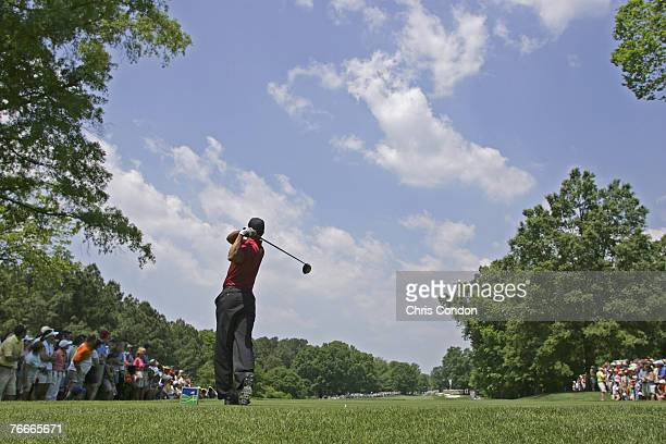 Tiger Woods during the fourth round of the Wachovia Championship at Quail Hollow Golf Club in Charlotte North Carolina on Sunday May 8 2005 Photo by...