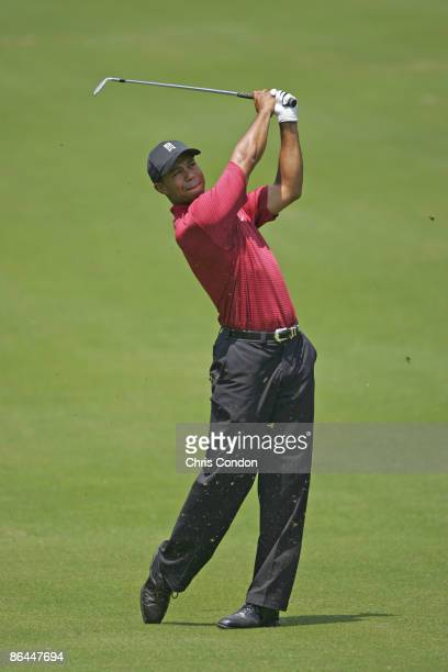Tiger Woods during the fourth round of the Wachovia Championship at Quail Hollow Golf Club in Charlotte North Carolina on Sunday May 8 2005