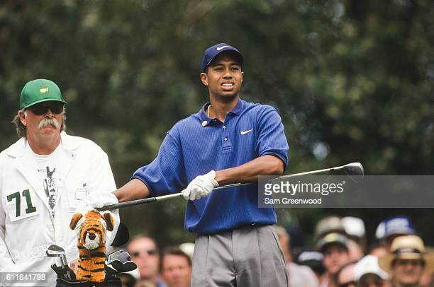 Tiger Woods during the second round of the 1997 Masters Tournament at the Augusta National Golf Club on April 11 1997 in Augusta Georgia