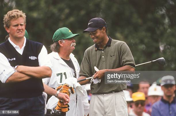 Tiger Woods during the third round of the 1997 Masters Tournament at the Augusta National Golf Club on April 12 1997 in Augusta Georgia