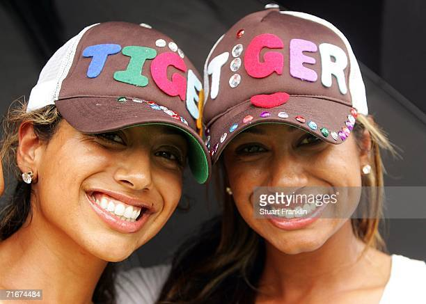 Tiger Woods fans smiles as they watch second round play at the 2006 PGA Championship at Medinah Country Club on August 18 2006 in Medinah Illinois