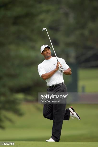 Tiger Woods follows his drive during the first round of the TOUR Championship at East Lake Golf Club in Atlanta Georgia on September 13 2007