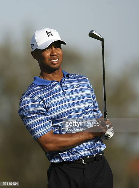 Tiger Woods follows his tee shot on the 14th hole during the second round of the Bay Hill Invitational at Bay Hill Club on March 17 2006 in Orlando...