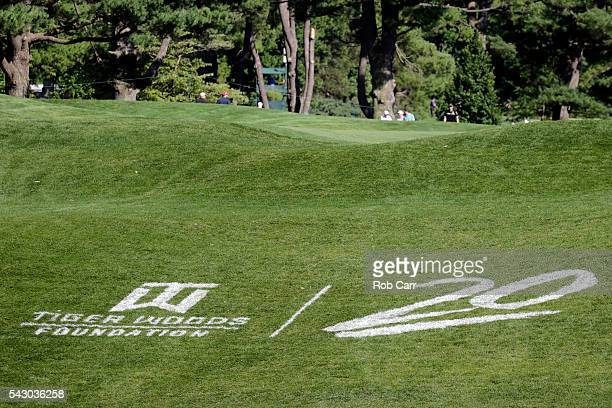 Tiger Woods Foundation logo is displayed on the 17th hole during the third round of the Quicken Loans National at Congressional Country Club on June...