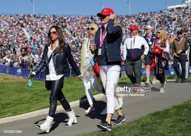 Tiger Woods girlfriend Erica Herman during singles matches of the 2018 Ryder Cup at Le Golf National on September 30 2018 in Paris France