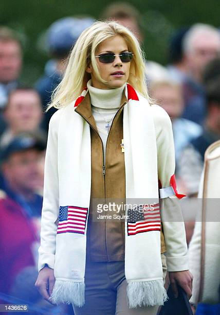 Tiger Woods girlfriend model Elin Nordegren watches on the third hole during the morning foursome matches on the second day of the 34th Ryder Cup at...