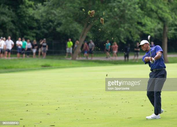 Tiger Woods hit from the fairway during the second round of the Memorial Tournament at Muirfield Village Golf Club in Dublin Ohio on June 01 2018