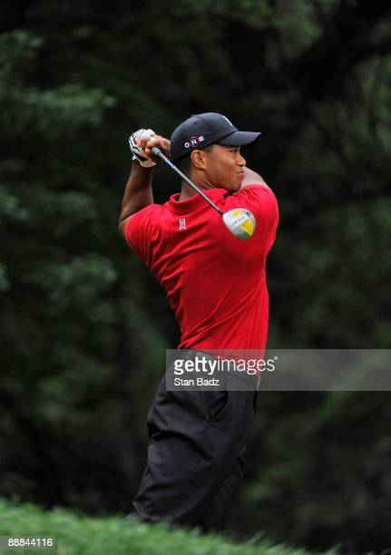 Tiger Woods hits a drive during the final round of the AT&T National at Congressional Country Club on July 5, 2009 in Bethesda, Maryland.