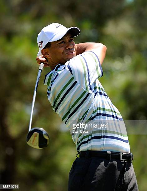 Tiger Woods hits a drive during the third round of THE PLAYERS Championship on THE PLAYERS Stadium Course at TPC Sawgrass held on May 9, 2009 in...