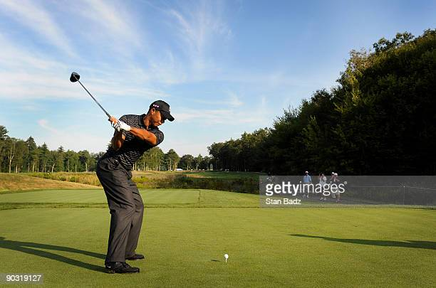 Tiger Woods hits a drive from the seventh tee box during the Deutsche Bank Championship Pro-Am held at TPC Boston on September 3, 2009 in Norton,...