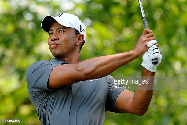 Tiger Woods hits a drive on the first hole during the first round of the AT&T National at Congressional Country Club on June 28, 2012 in Bethesda,...