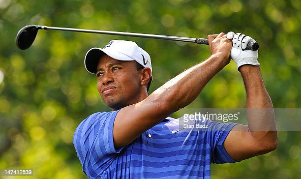 Tiger Woods hits a drive on the first hole during the second round of the ATT National at Congressional Country Club on June 29 2012 in Bethesda...