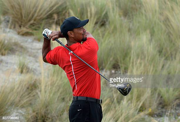 Tiger Woods hits a drive on the third hole during the final round of the Hero World Challenge at Albany course on December 4 2016 in Nassau Bahamas