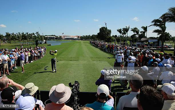 Tiger Woods hits a his tee shot on the 18th hole during the second round of the World Golf ChampionshipsCadillac Championship at Trump National Doral...