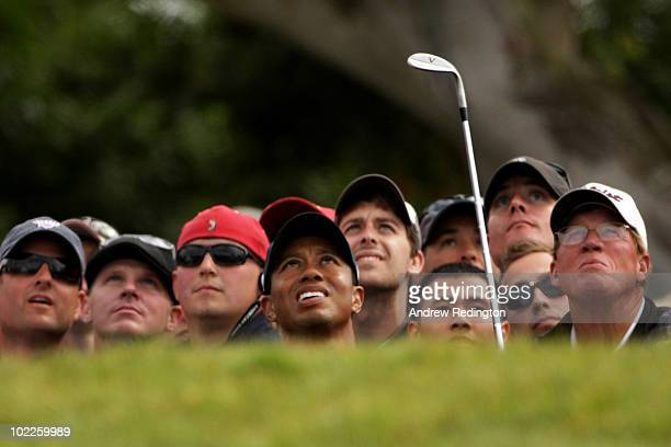 Tiger Woods hits a pitch shot on the 12th hole during the final round of the 110th US Open at Pebble Beach Golf Links on June 20 2010 in Pebble Beach...