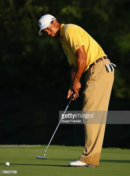 Tiger Woods hits a putt during a practice round prior to the start of the 89th PGA Championship at the Southern Hills Country Club on August 7, 2007...