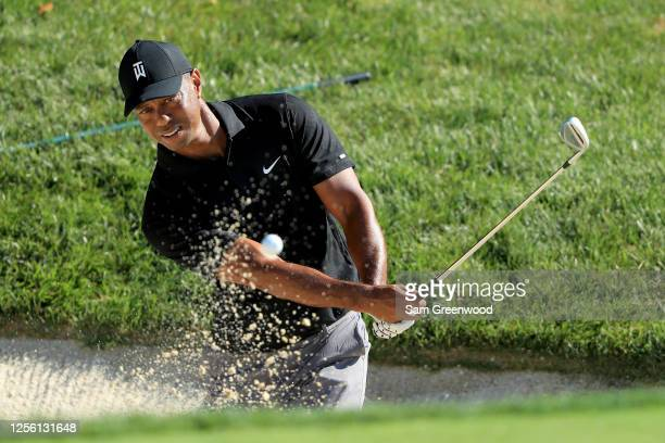 Tiger Woods hits a shot during a practice round prior to The Memorial Tournament at Muirfield Village Golf Club on July 14 2020 in Dublin Ohio