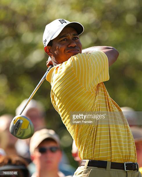 Tiger Woods hits a shot during a practice round prior to the start of the 89th PGA Championship at the Southern Hills Country Club on August 7, 2007...