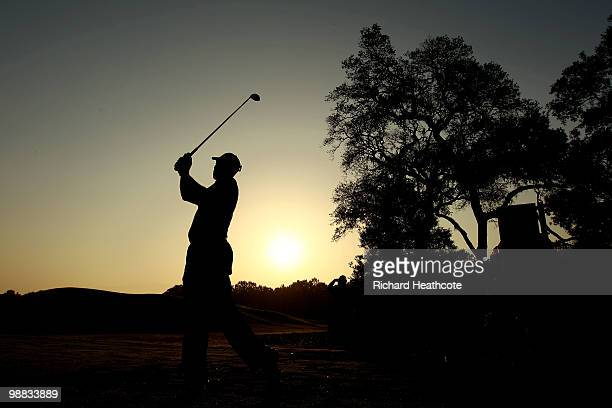 Tiger Woods hits a shot during a practice round prior to the start of THE PLAYERS Championship held at THE PLAYERS Stadium course at TPC Sawgrass on...