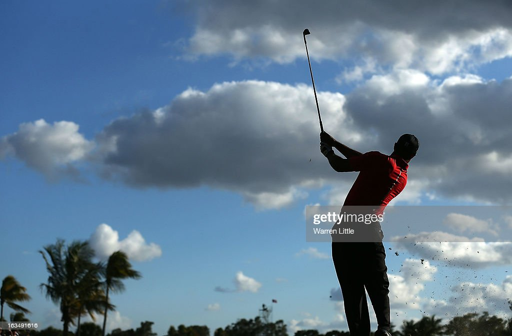 Tiger Woods hits a shot during the final round of the World Golf Championships-Cadillac Championship at the Trump Doral Golf Resort & Spa on March 10, 2013 in Doral, Florida.