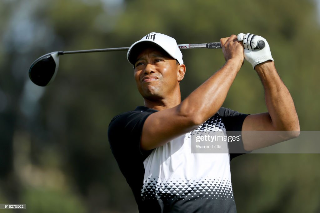 Tiger Woods hits a shot during the Pro-Am of the Genesis Open at the Riviera Country Club on February 14, 2018 in Pacific Palisades, California.