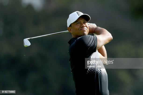 Tiger Woods hits a shot during the ProAm of the Genesis Open at the Riviera Country Club on February 14 2018 in Pacific Palisades California