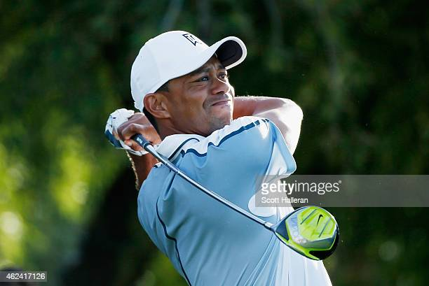 Tiger Woods hits a shot during the proam prior to the start of the Waste Management Phoenix Open at TPC Scottsdale on January 28 2015 in Scottsdale...