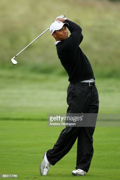 Tiger Woods hits a shot during the second day of previews to the 109th US Open on the Black Course at Bethpage State Park on June 16 2009 in...