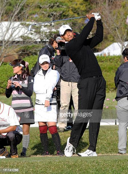 Tiger Woods hits a shot during the The Great East Japan Earthquake Charity Event at Masters Golf Club on November 1 2011 in Miki Hyogo Japan Rui...