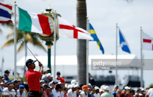 Tiger Woods hits a shot on the practice ground during the final round of the World Golf ChampionshipsCadillac Championship at the Trump Doral Golf...