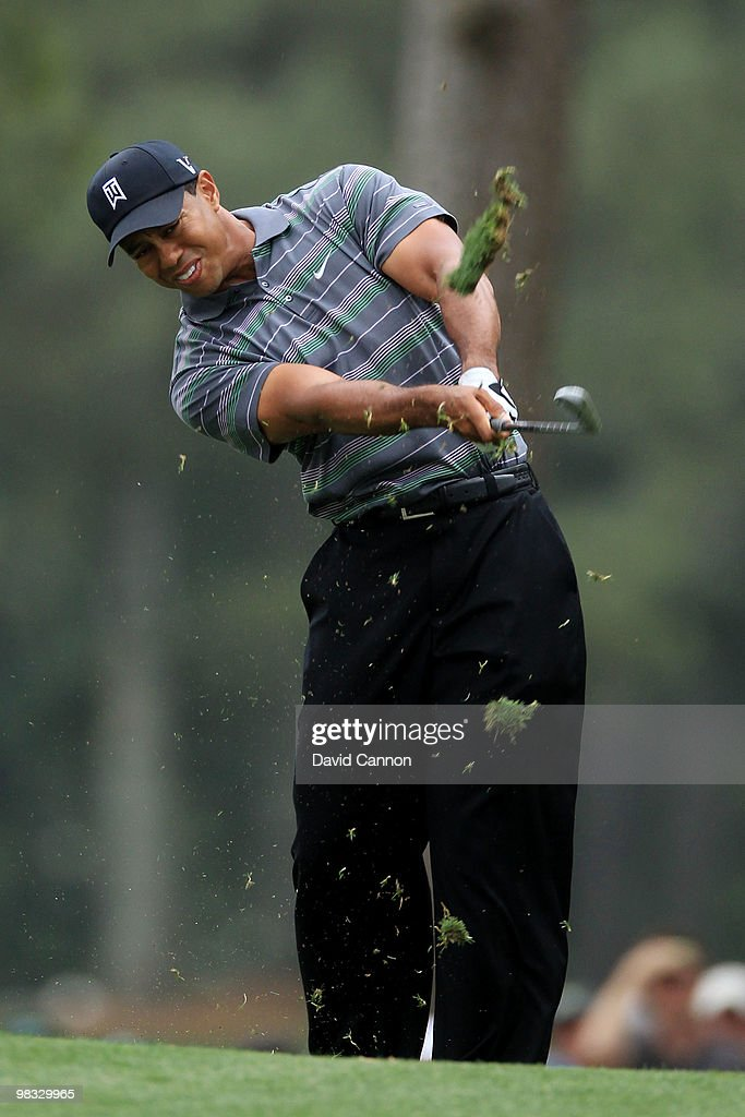 Tiger Woods hits a shot on the second hole during the first round of the 2010 Masters Tournament at Augusta National Golf Club on April 8, 2010 in Augusta, Georgia.