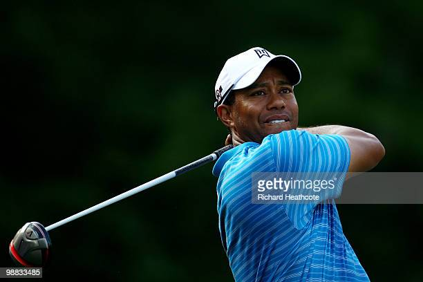 Tiger Woods hits a tee shot during a practice round prior to the start of THE PLAYERS Championship held at THE PLAYERS Stadium course at TPC Sawgrass...
