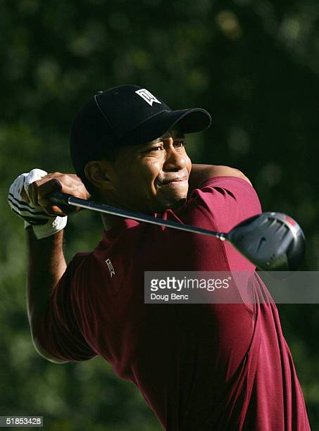 Tiger Woods hits a tee shot during the final round of the Target World Challenge at Sherwood Country Club on December 12, 2004 in Thousand Oaks,...