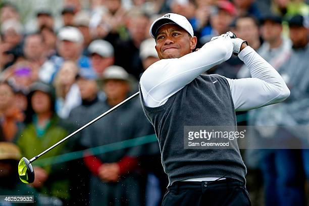 Tiger Woods hits a tee shot on the 9th hole during the second round of the Waste Management Phoenix Open at TPC Scottsdale on January 30 2015 in...