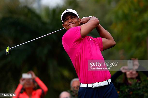 Tiger Woods hits a tee shot on the second hole during the first round of the Waste Management Phoenix Open at TPC Scottsdale on January 29 2015 in...