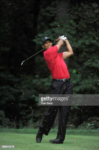 Tiger Woods hits from the 13th tee box during the final round of the AT&T National at Congressional Country Club on July 5, 2009 in Bethesda,...
