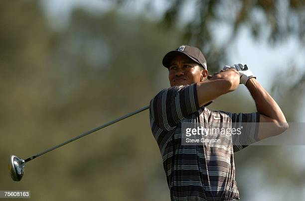 Tiger Woods hits from the 14th tee on the South Course during the second round of the 2007 Buick Invitational at Torrey Pines Golf Course in La...