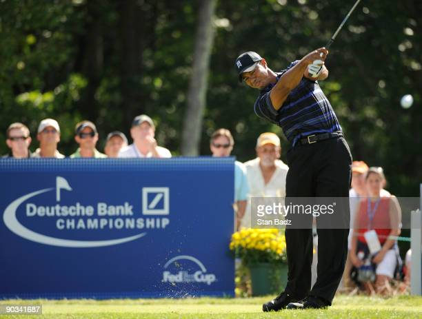 Tiger Woods hits from the 17th tee box during the first round of the Deutsche Bank Championship held at TPC Boston on September 4, 2009 in Norton,...