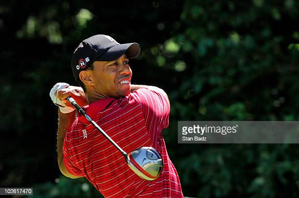 Tiger Woods hits from the fourth tee box during the final round of the AT&T National at Aronimink Golf Club on July 4, 2010 in Newtown Square,...
