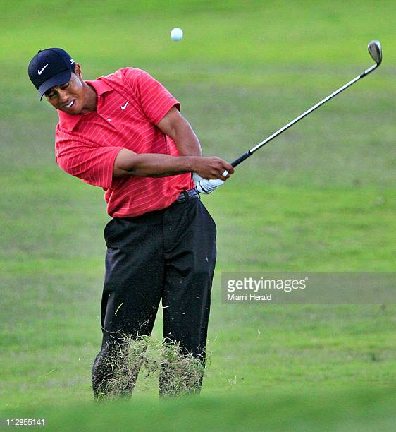 Tiger Woods hits from the rough on the sixteenth hole during the final round of the CA Championship at Doral Golf Resort and Spa in Doral Florida...